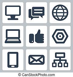 vector, set, vrijstaand, web/internet, iconen