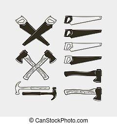 vector, set, werken, equipment., illustratie, hout, tools.,...