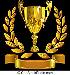 vector set Winning success gold cup, laurel wreath and a shiny ribbon on a black background