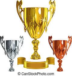 vector set Winning success gold, silver, bronze cup