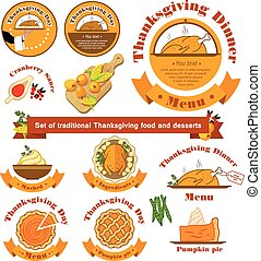 Vector. Set with a traditional food on Thanksgiving Day on isola