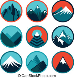 Vector set with abstract logos and icons - mountains and summits in blue color