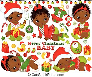 Vector Set with African American Baby Girls Wearing...