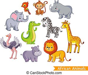 Vector set with african animals. A collection of cute mammals in the savannah.