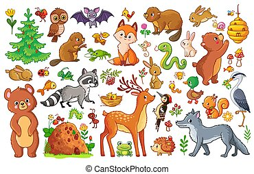 Vector set with animals and birds in a children's style.