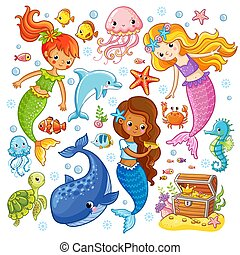 Vector set with animals and mermaids.