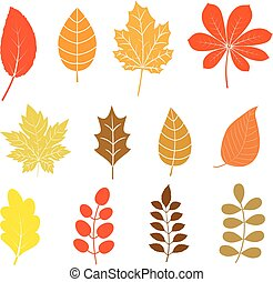 Vector set with autumn leaves in flat style in orange, yellow and brown colors for icons and graphic design