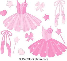 Vector Set with Ballet Shoes and Tutu Dresses - Vector set...