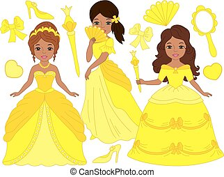 Vector Set with Beautiful African American Princesses