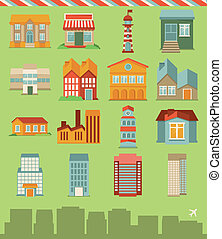 Vector set with buildings icons - map elements in retro...