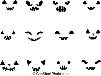 Vector set with carved Halloween pumpkin faces templates in black and white with different funny expressions with different face expressions