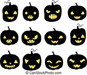 Vector set with carved Halloween pumpkins silhouettes in black with different face expressions for greeting cards, invitations and scrapbooking