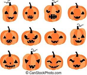 Vector set with carved Halloween pumpkins with different face expressions for greeting cards, invitations and scrapbooking