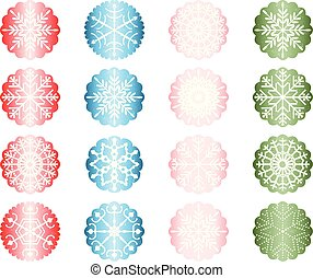 Vector set with Christmas snowflake ornaments