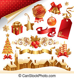Vector set with Christmas symbols and objects