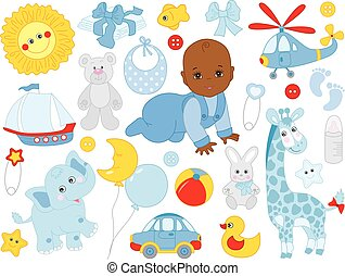 Vector Set with Cute African American Baby Boy, Toys and Accessories