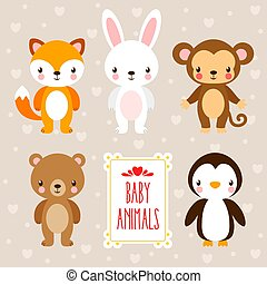 Vector set with cute animals in cartoon style.