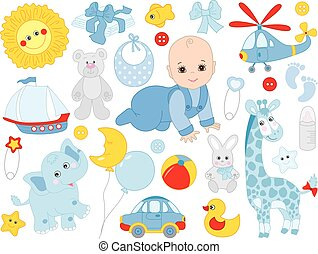 Vector Set with Cute Baby Boy, Toys and Accessories