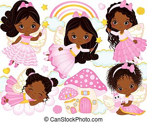 Vector Set with Cute Little African American Fairies