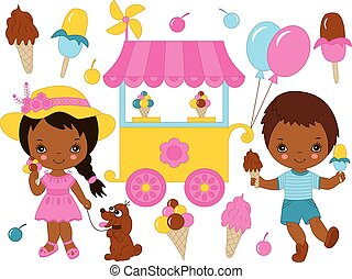 Vector Set with Cute Little African American Kids Having Ice Cream Party