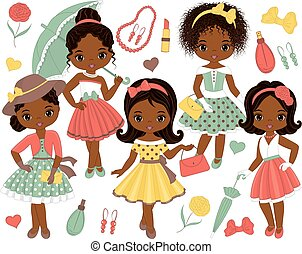 Vector Set with Cute Little African American Girls in Retro Style
