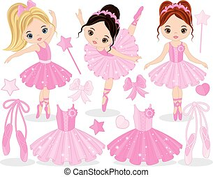 Vector Set with Cute Little Ballerinas, Ballet Shoes and...