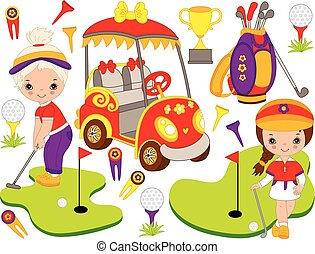Vector Set with Cute Little Girls Playing Golf and Golf...