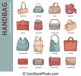 Vector set with fashion bags
