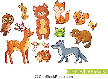 Vector set with forest animals on a white background.