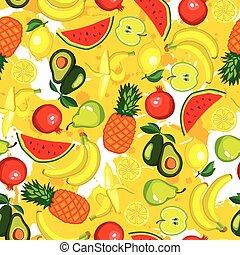 vector set with fruits: avocado, watermelon, banana, lemon,...