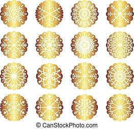 Vector set with gold Christmas snowflake ornaments for Christmas decor