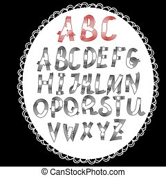 Vector set with hand written ABC letters .Vector illustration
