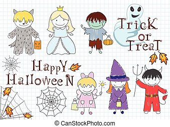 Vector set with happy children in Halloween masks