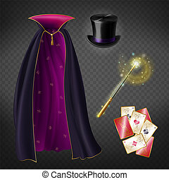 Vector set with illusionist equipment for tricks
