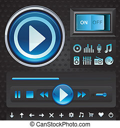 Vector set with interface for music player - Vector set with...