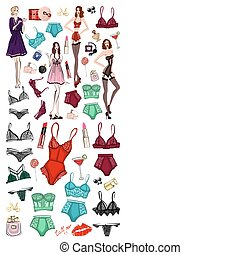 Vector set with lingerie and perfume