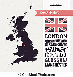 Vector set with map UK