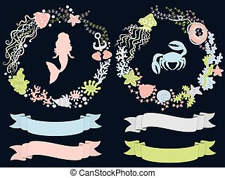 Vector Set with Mermaid and Sea Life Elements