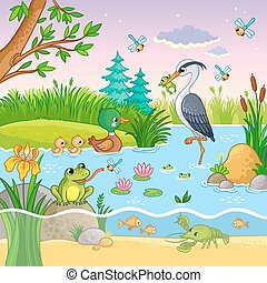 Vector set with nature and animals in the children's cartoon style.
