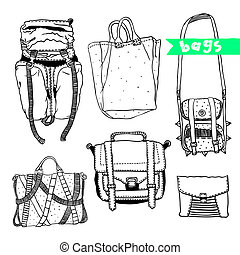 Vector set with original bags - Vector black and white set...