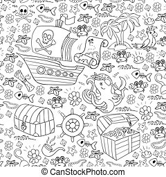 Vector set with pirate elements for birthday party for little children. Kids pattern with octopus, beach, treasure chest, ship