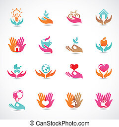Vector set with signs of love and care - collection with abstract icons
