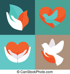 Vector set with signs of love and care