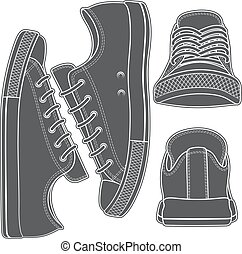 Vector set with sneakers, gumshoes