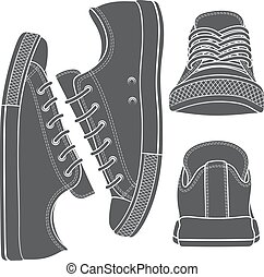 Vector set with sneakers, gumshoes.