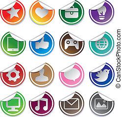 stickers and social media icons
