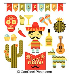 Vector set with traditional Mexican symbols.
