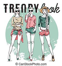 Vector set with trendy girls