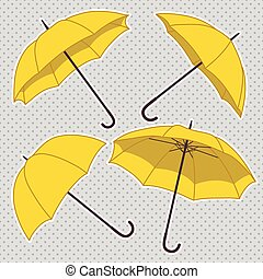 vector set with umbrellas