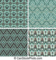 Vector set with vintage seamless patterns - abstract...